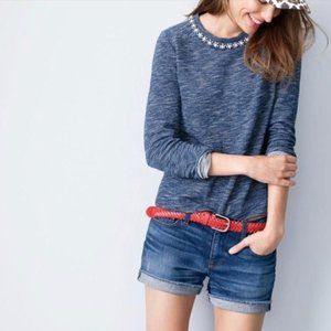 J. Crew | Jeweled Marled Sweatshirt Relaxed Fit